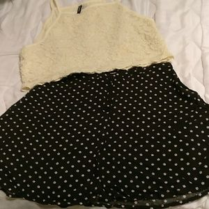 H&M black skirt with white flowers
